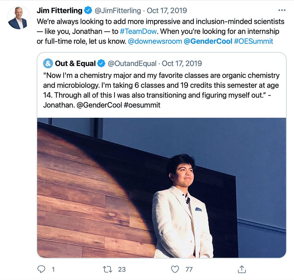 Jim Fitterling Dow GenerCool Tweet